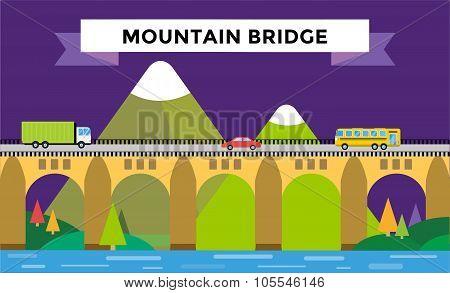 Mountain bridge landscape vector