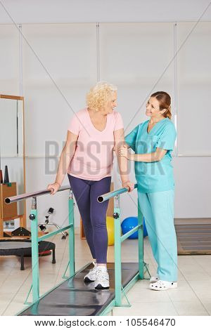 Physiotherapy with walking exercise on treadmill for senior woman