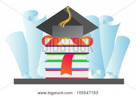 Graduation hat vector illustration
