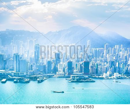 Hong Kong Skyline Aerial View At Sunrise