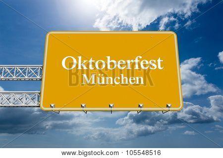 Oktoberfest munchen against blue sky