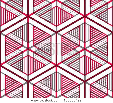 Seamless optical ornamental pattern with three-dimensional geometric figures. Intertwine red composition. poster
