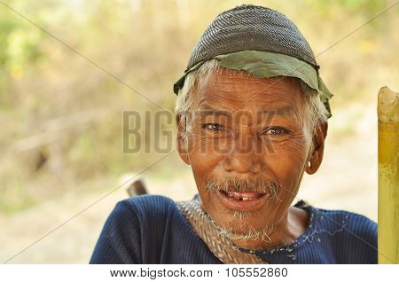 Old Man Smiling In Nagaland, India