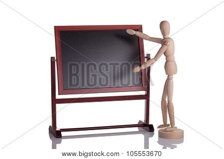 Mannequin Doing A Demonstration Show. On The Advertising Board.