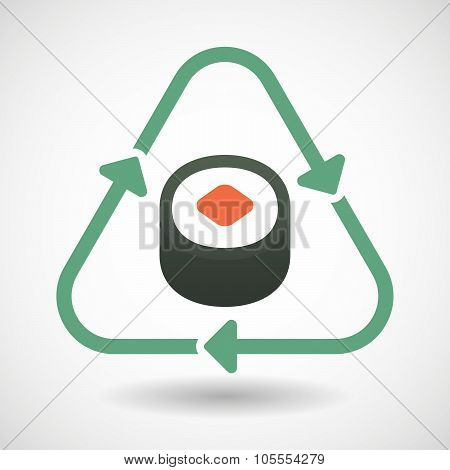 Line Art Recycle Sign Icon With A Piece Of Sushi Maki