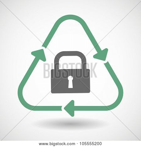 Line Art Recycle Sign Icon With A Closed Lock Pad