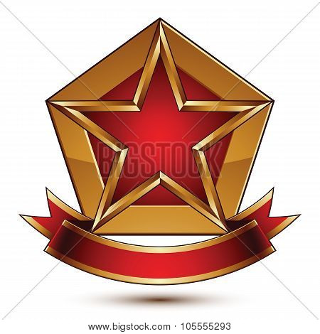Golden Vector Stylized Symbol With Red Star And Glamorous Wavy Band, Clear Eps 8 Insignia, Isolated