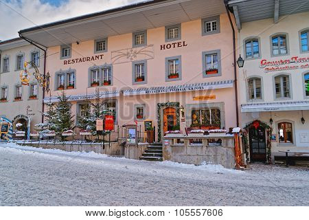 Exterior Of The Restaurant Serving Traditional Swiss Cuisine In Gruyere