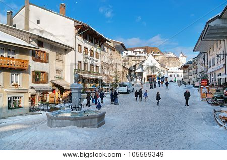 Market Place In The Center Of Gruyeres