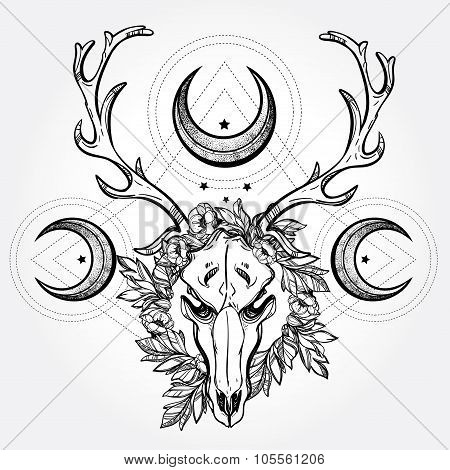 Deer scull  with branches and ornate moons.