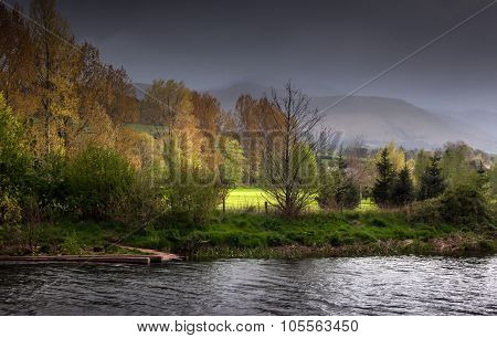 Brecon Beacons and river Usk