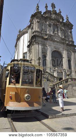Historical Tram Next To Clerigos Church