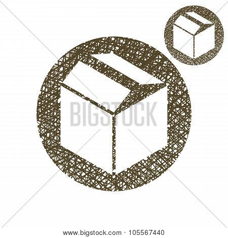 Packaging Box Vector Simple Single Color Icon Isolated On White Background With Sketch Drawn texture