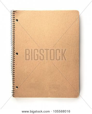 Note book with brown paper cover, in real life used condition. Isolated on  white background.