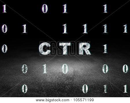 Business concept: CTR in grunge dark room
