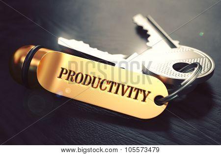 Productivity written on Golden Keyring.