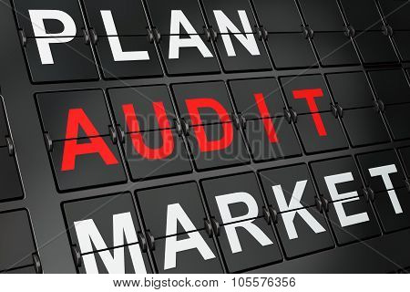 Business concept: Audit on airport board background