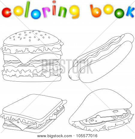 Hamburger hot dog sandwich and pitta with cheese tomato meat and salad unpainted. Coloring book for kids about fast food. Vector illustration poster