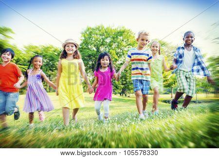 Children Park Friends Friendless Happiness Playful Concept
