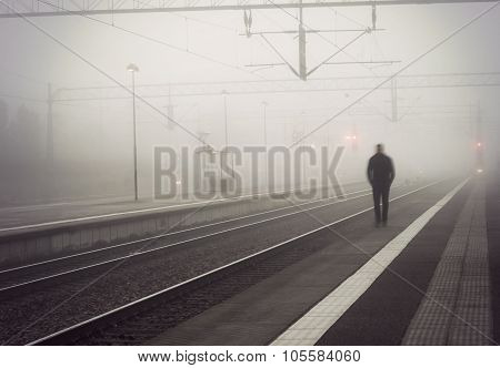 Man On Train Platform