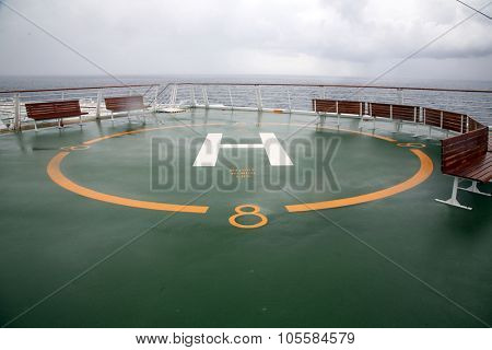 Helipad aka Landing Place for Helicopters on a Cruise Ship. Cruise Ships have Helipads in case of emergencies like Medical or Pirate Attacks. Helicopters are important when emergencies happen