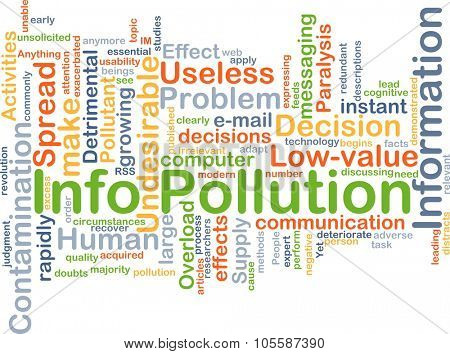 Background concept wordcloud illustration of info pollution