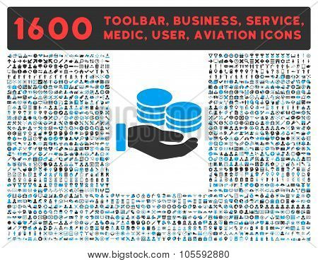 Salary vector icon and 1600 other business, service tools, medical care, software toolbar, web interface pictograms. Style is bicolor flat symbols, blue and gray colors, rounded angles, white background. poster