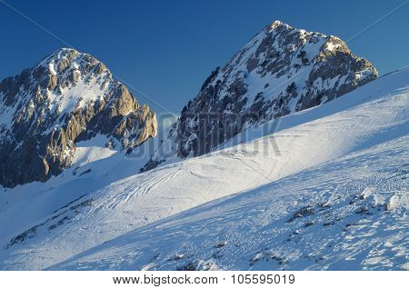Foratata peaks in the Pyrenees, Tena Valley, Huesca, Aragon, Spain.
