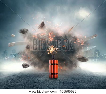 Dangerous dynamite exploding in the urban area