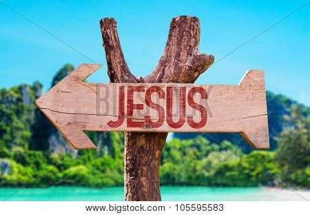 Jesus arrow with beach background