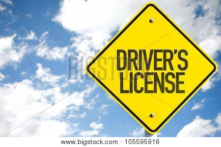 Driver's License sign with sky background