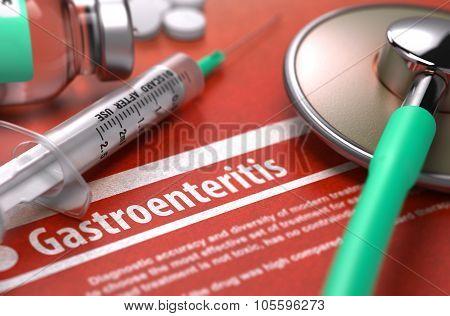 Gastroenteritis - Printed Diagnosis. Medical Concept.