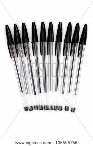 Ball Point Pens Isolated On A White Background