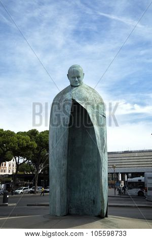 ROME, ITALY- SEPT 26, 2015:   The revamped statue of Pope John Paul II  after the first one was pilloried by the public and the Vatican.  Made by an italian sculptor in 2011, Oliviero Rainaldi.