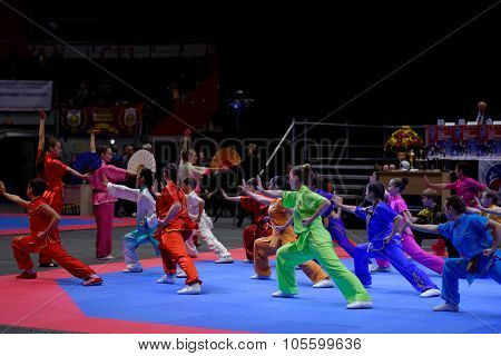 ST. PETERSBURG, RUSSIA - OCTOBER 17, 2015: Demonstration performance of St. Petersburg Wushu Federation during the martial arts festival Baltic Sea Cup in Sibur Arena