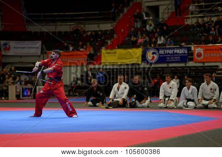 ST. PETERSBURG, RUSSIA - OCTOBER 17, 2015: Demonstration performance with nunchaku from the St. Petersburg Kobudo Federation during the martial arts festival Baltic Sea Cup in Sibur Arena