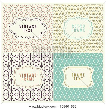 Minimal Pattern Background. Retro Mono Line Frames with place for Text. Vector Design Template, Labels, Badges on Seamless Geometric Patterns.