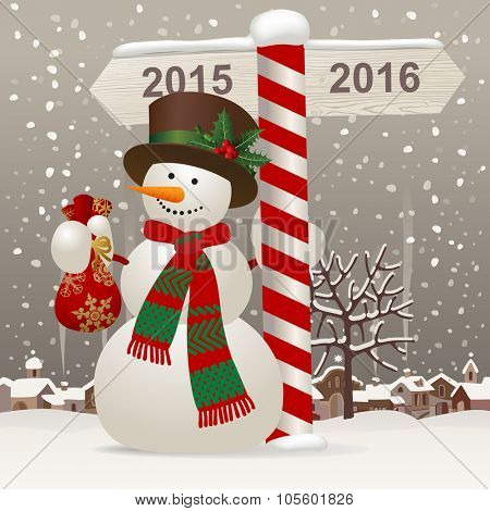 Snowman in a red scarf and hat with a wooden sign showing the way to 2016 against the winter landscape. New-Year's greeting card. Vector illustration