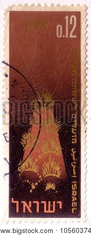 Israel - Circa 1965: A Stamp Printed In Israel Shows Symbolic Representation Of The Land, The Creati