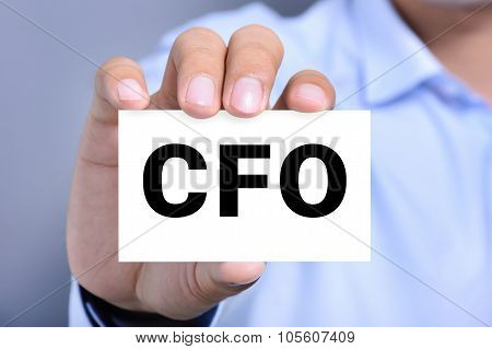 Cfo Letters (or Chief Financial Officer) On The Card Shown By A Man