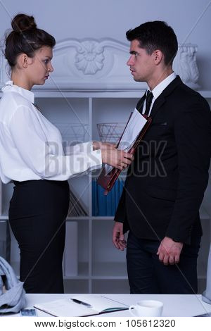 Powerful Businesswoman Abusing Worker