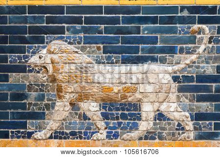 One Of The Lions From The Ishtar Gate Of Babilon In The Pergamon Museum, Berlin