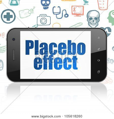 Healthcare concept: Smartphone with Placebo Effect on display