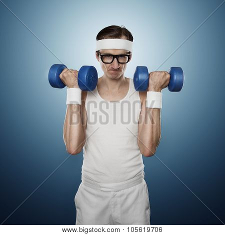 Funny Sport Nerd Lifting Weights