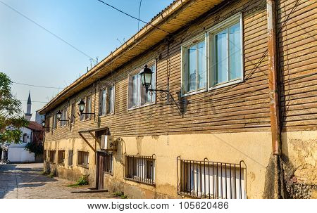 Wooden house in the old town of Skopje - Macedonia poster