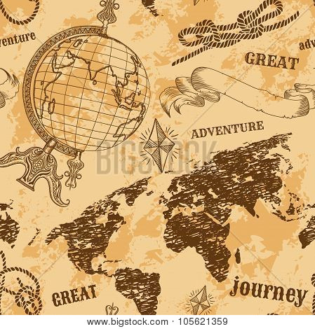 Seamless pattern with vintage globe, abstract world map, rope knots, ribbon. Retro hand drawn vector