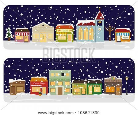 Winter Village Main Street Neighborhood Vector Illustration. Small town main street with shops, church, bar and public buildings. All objects are grouped, text and snow on separate layer.