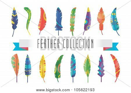 Feathers vector silhouette set