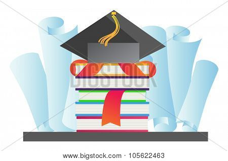 Graduation hat vector illustration. Education hat, students or school and college hat symbol. Graduation cap isolated. Education hat symbol. University hat silhouette. Education hat vector isolated