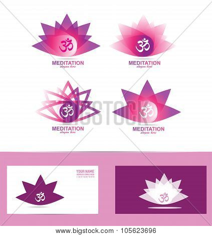Lotus Flower Aum Symbol Logo Icon